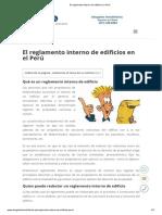 El Reglamento Interno de Edificios en Perú