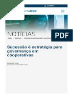 Sucessao e Estrategia Para Governanca Em Cooperativas