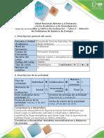 Guía de Actividades y Rúbrica de Evaluación – Tarea 5 – Solución de Problemas de Balance de Energía