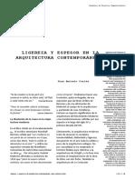 Ligereza y Espesor en La Arq Contemporánea. Juan Antonio Cortés