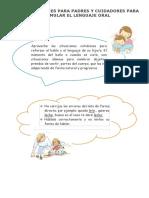 Recomendaciones Para Padres y Cuidadores Para Estimular El Lenguaje Oral