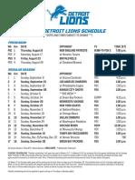 2019 Detroit Lions Schedule