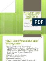 Evaluación Social de Proyectos y Resultado de Analisis