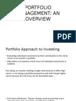 Overview of Portfolio Management