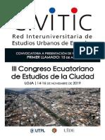 III Congreso Ecuatoriano de Estudios de la Ciudad – III CEC - 14 al 16 de noviembre de 2019  - Loja – Ecuador - Primer Llamado