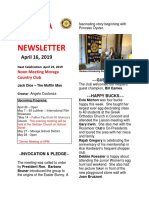 Moraga Rotary Newsletter April 16 2019