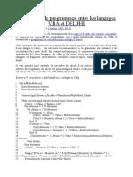 Conversion de Programmes Entre Les Langages VBA Et DELPHI