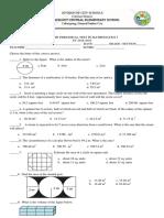 Fourth Quarter Periodical Test Math 5