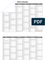 Printable Yearly 2019 Calendar Month in Column