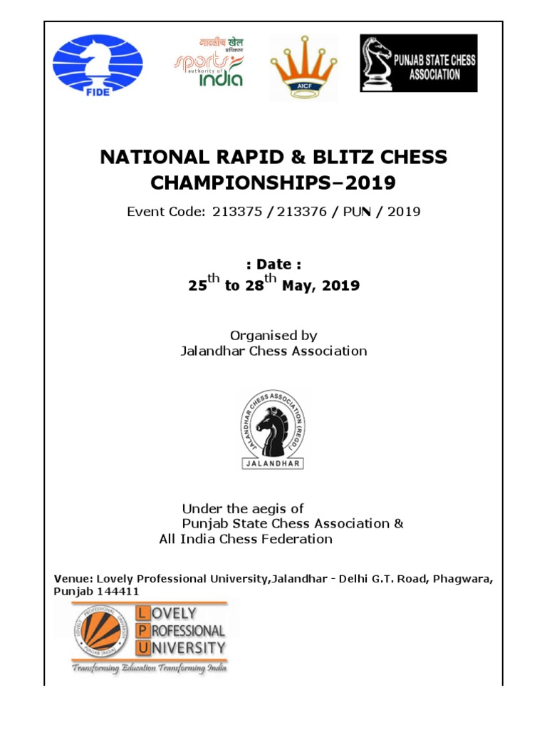 Final Prospectus National Rapid and Blitz 2019 | Board Games
