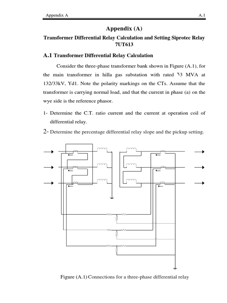 Tr differential relay calculation siprotech | Transformer