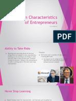 common characteristics of entrepreneurs