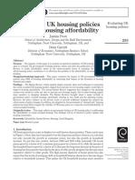 Evaluating UK Housing Policies