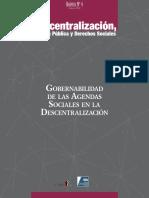 Gobernabilidad de Las Agendas Sociales en La Descentralización