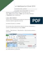 Ómo Hacer Un Dashboard en Excel 2010