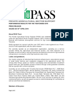PASS Trust Press Release on Performance Results -18th April 2019