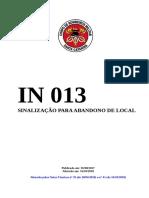 IN 13  SINALIZAÇÃO PARA ABANDONO DE LOCAL