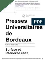 Surfaces Et Intériorité - Surface Et Intériorité Chez Henri Michaux - Presses Universitaires de Bordeaux
