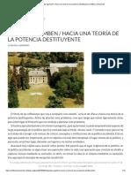 Giorgio Agamben _ Hacia Una Teoría de La Potencia Destituyente _ Artillería Inmanente