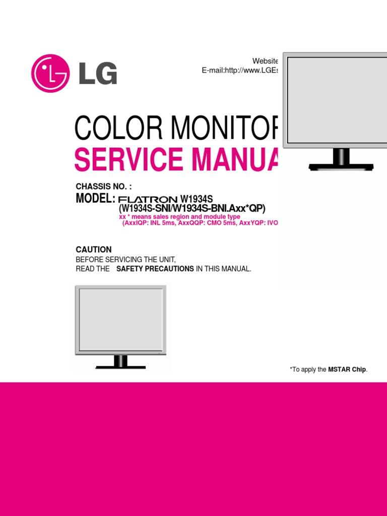 lg tft lcd color monitor flatron w1934s soldering printed rh es scribd com