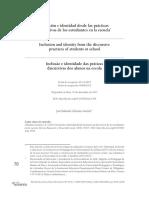 Inclusion e Identidad de Las Practicas Discursivas de Los Estudiantes en La Escuela