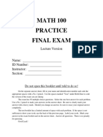 Math 100 Practice Final Exam Lecture
