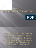 Unit 7 Research Report Writing
