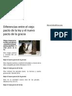 Diferencias Entre El Viejo Pacto de La Ley y El Nuevo Pacto de La Gracia – Es Por Gracia
