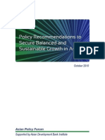 Policy Recommendations to Secure Balanced and Sustainable Growth in Asia