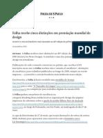 Folha recebe cinco distinções em premiação mundial