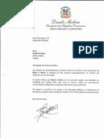Carta de felicitación del presidente Danilo Medina por 14 aniversario de Diario a Diario