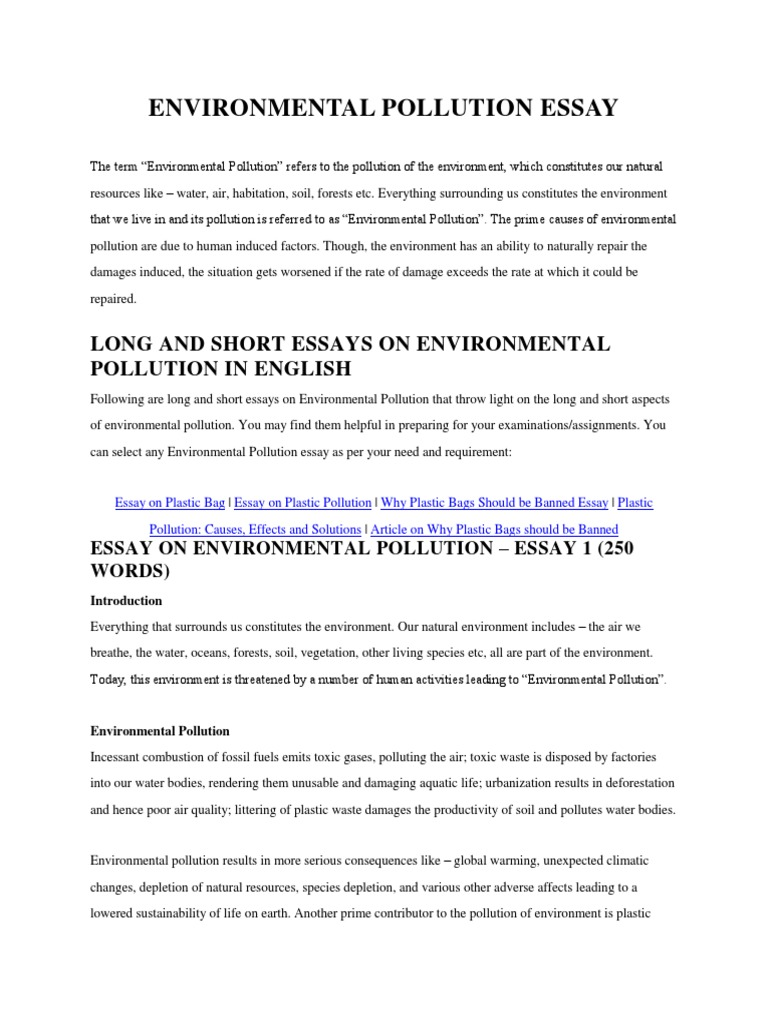 Environmental Pollution Essay | Air Pollution | Pollution