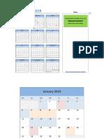 Calendario en Excel Año 2019