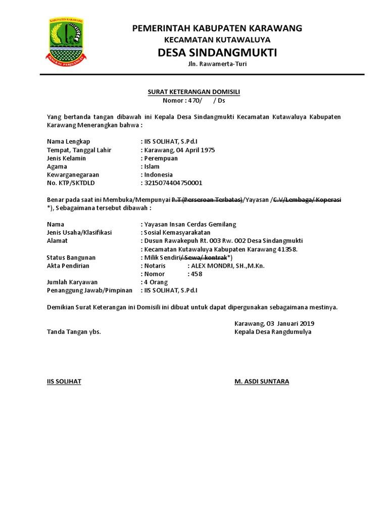 49++ Contoh surat domisili koperasi terbaru terbaru