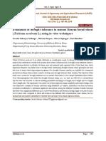 Evaluation of drought tolerance in mutant Kenyan bread wheat (Triticum aestivum L.) using in vitro techniques