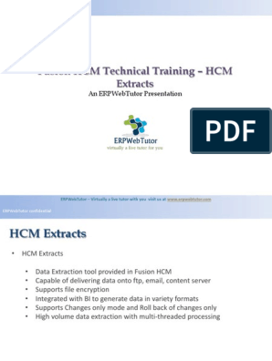 Fusion HCM Technical Trainng HCM Extracts | Oracle Database