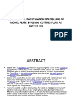 Experimental Investigation on Drilling of Monel Plate by Using Cutting Fluid as Castor Oil