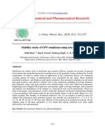 Stability Study of Ow Emulsions Using Zeta Potential