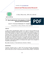 Uv Spectrophotometric Determination of Ceftazidime in Pure and Pharmaceutical Formulation