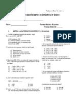 prueba de diagnostico matematica 5° año