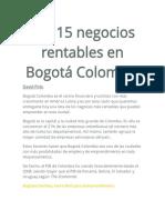 Los 15 Negocios Rentables en Bogotá Colombia
