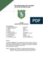 Estomatología Sílabo- Ortodoncia 2016-I