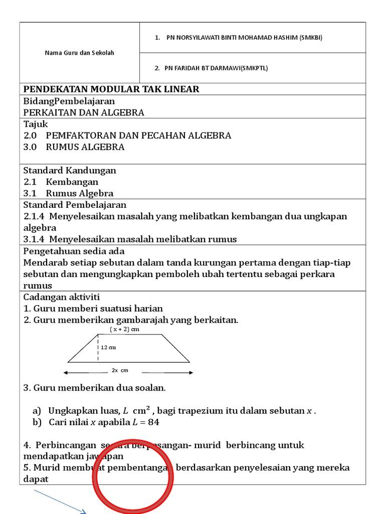 Pendekatan Modular Tak Linear Nama Guru Dan Sekolah 1 Pn Norsyilawati Binti Mohamad Hashim Smkbi