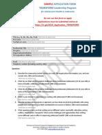 SAMPLE Application Form TRANSFORM Health 2019
