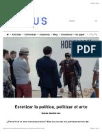 Estetizar la política, politizar el arte   Cactus