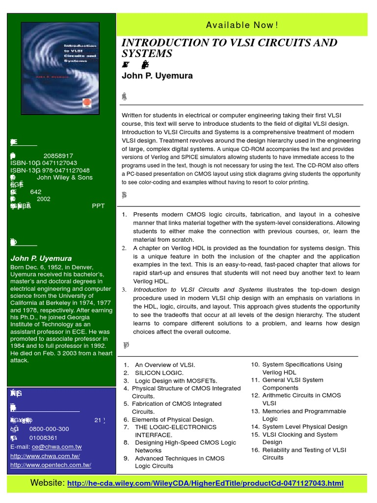 Introduction To Vlsi Circuits And Systems John P Uyemura Hardware Description Language Very Large Scale Integration