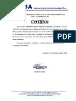 Certificado de Trabajo Coysa