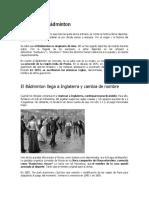 Historia Del Bádminton