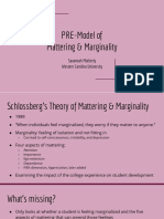 pre model of  mattering   marginality