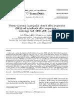 Thermo-economic Investigation of Multi Effect Evaporation